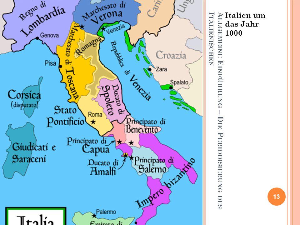 Allgemeine Einführung – Die Periodisierung des Italienischen