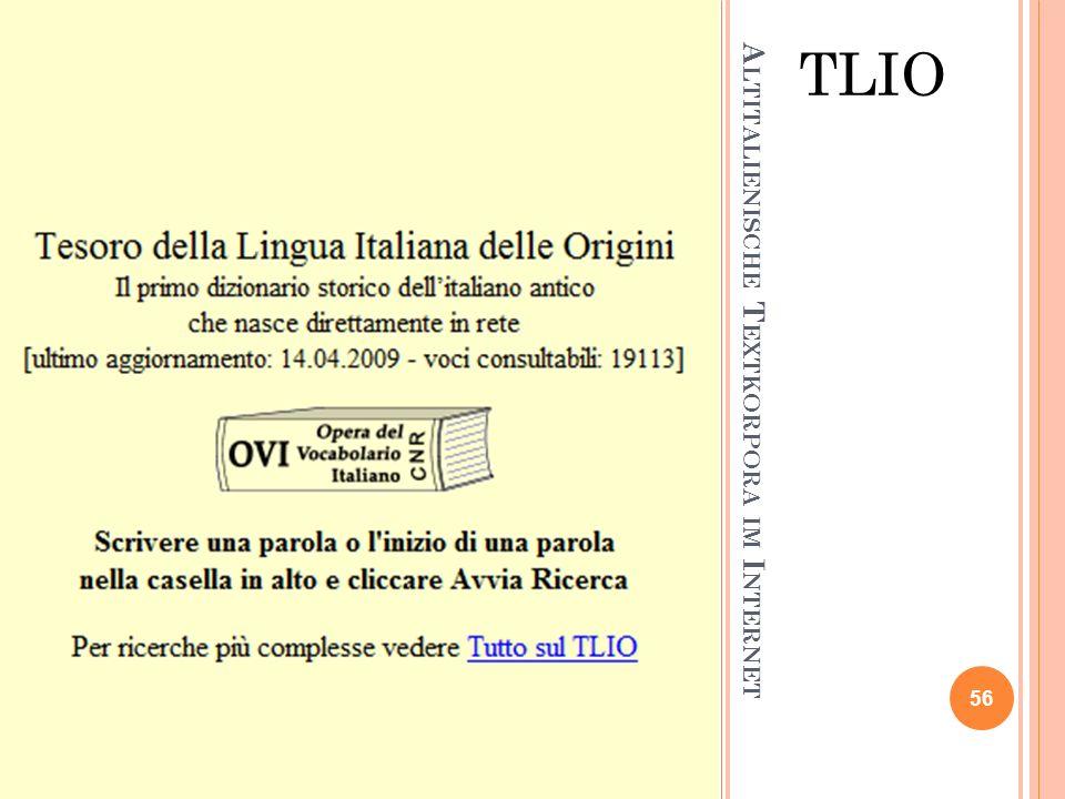 Altitalienische Textkorpora im Internet