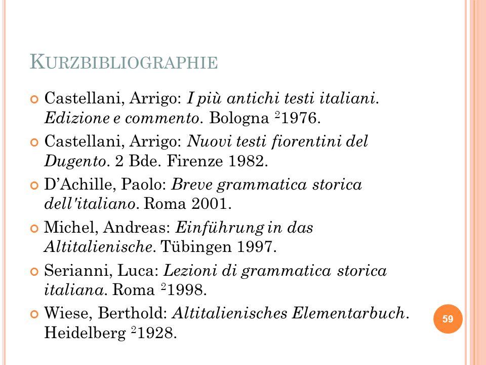 KurzbibliographieCastellani, Arrigo: I più antichi testi italiani. Edizione e commento. Bologna 21976.