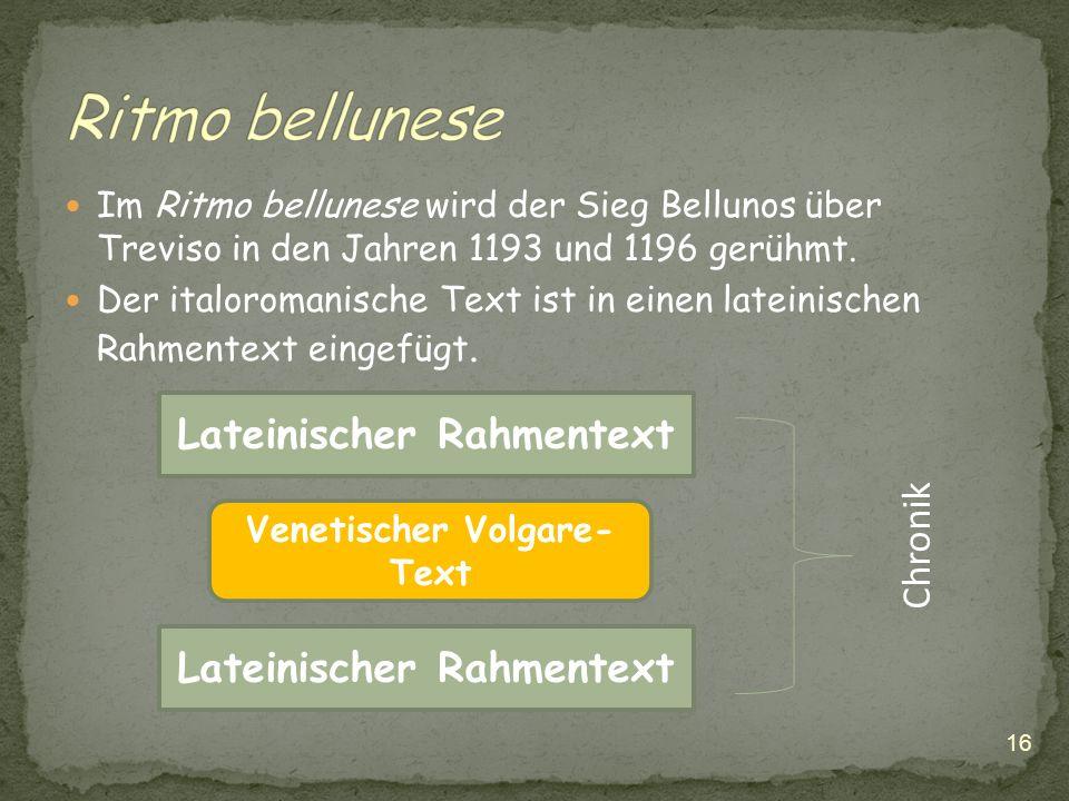 Ritmo bellunese Lateinischer Rahmentext Chronik