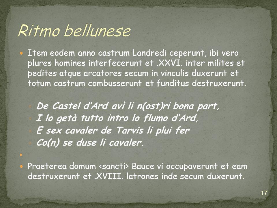 Ritmo bellunese De Castel d'Ard avì li n(ost)ri bona part,