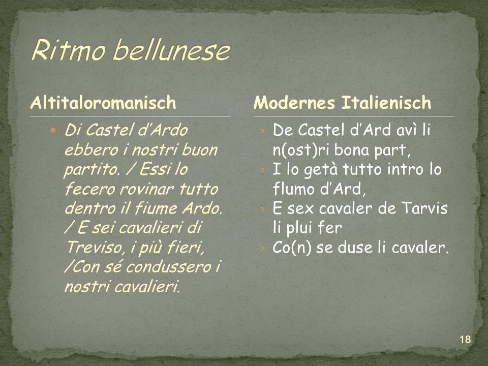 Ritmo bellunese Altitaloromanisch Modernes Italienisch
