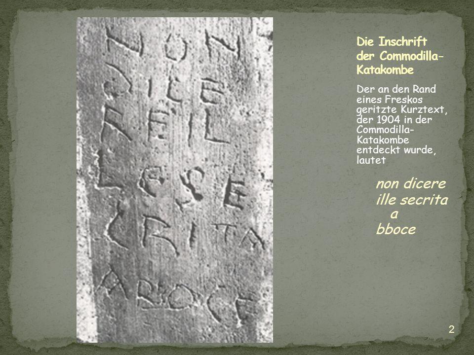Die Inschrift der Commodilla-Katakombe