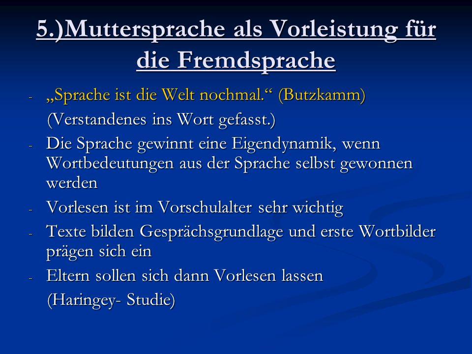 5.)Muttersprache als Vorleistung für die Fremdsprache