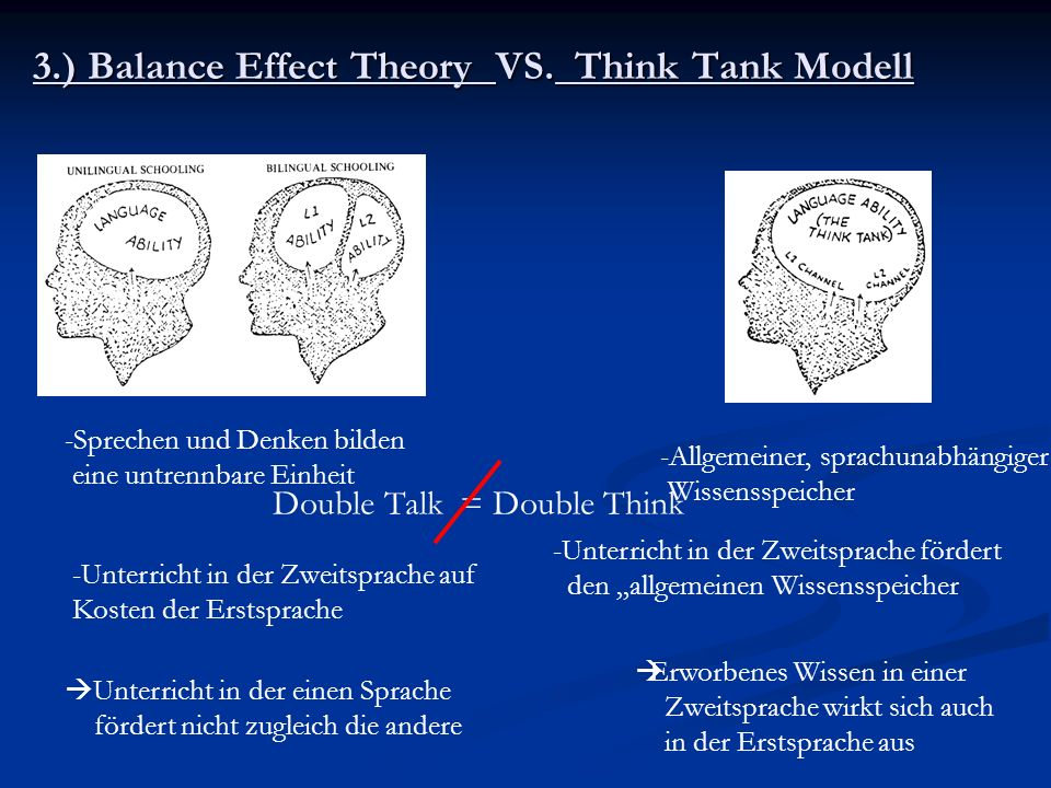 3.) Balance Effect Theory VS. Think Tank Modell