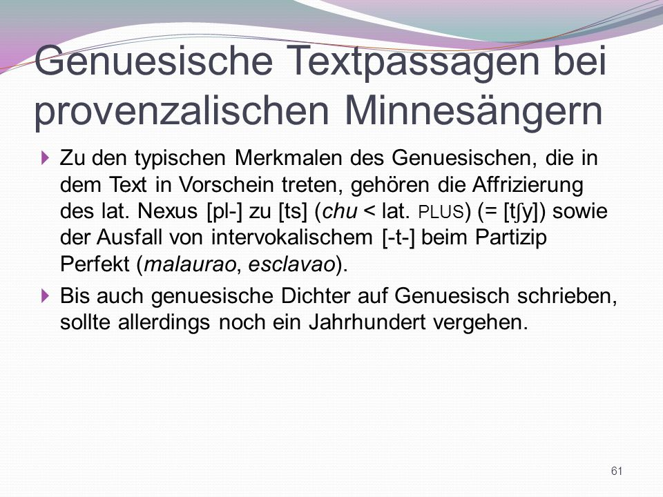 Genuesische Textpassagen bei provenzalischen Minnesängern
