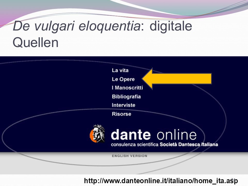 De vulgari eloquentia: digitale Quellen