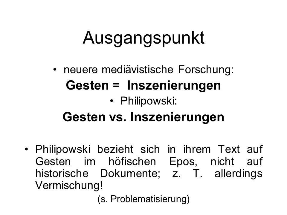 Gesten = Inszenierungen Gesten vs. Inszenierungen