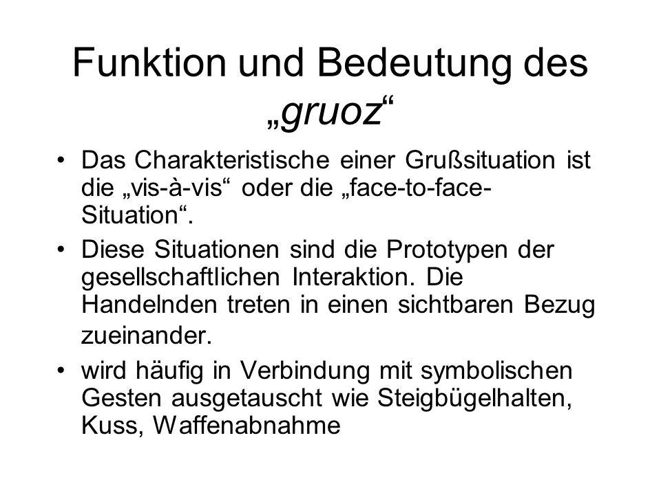 """Funktion und Bedeutung des """"gruoz"""