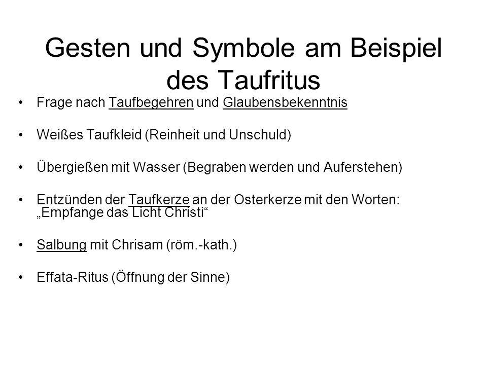 Gesten und Symbole am Beispiel des Taufritus