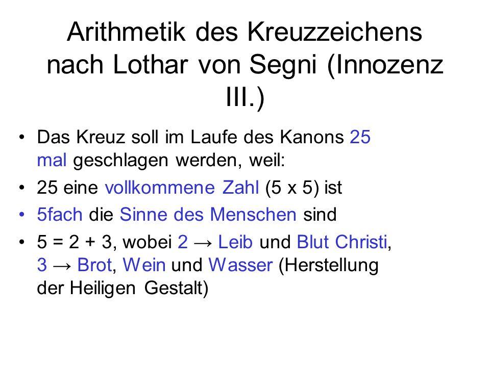 Arithmetik des Kreuzzeichens nach Lothar von Segni (Innozenz III.)