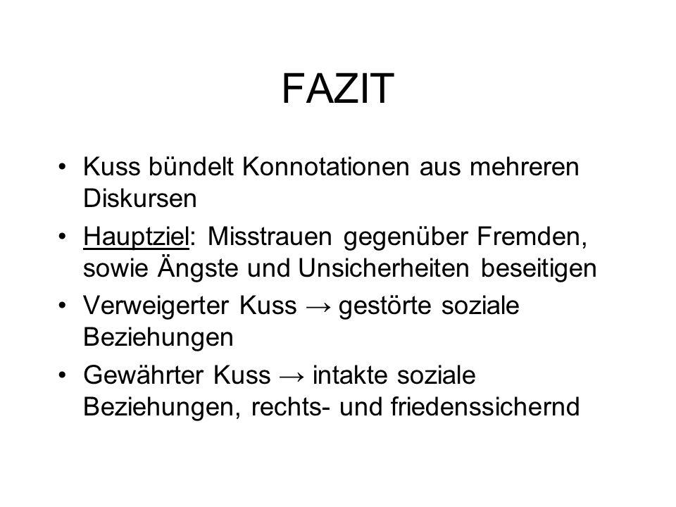 FAZIT Kuss bündelt Konnotationen aus mehreren Diskursen