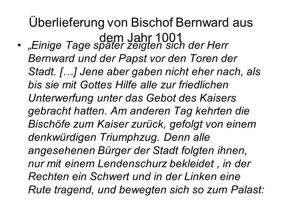 Überlieferung von Bischof Bernward aus dem Jahr 1001