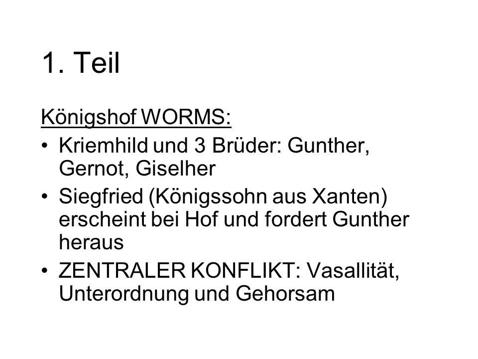 1. Teil Königshof WORMS: Kriemhild und 3 Brüder: Gunther, Gernot, Giselher.