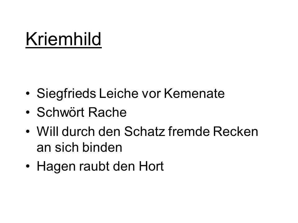 Kriemhild Siegfrieds Leiche vor Kemenate Schwört Rache