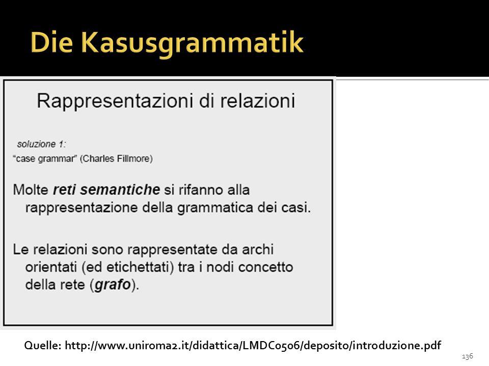 Die Kasusgrammatik Quelle: http://www.uniroma2.it/didattica/LMDC0506/deposito/introduzione.pdf