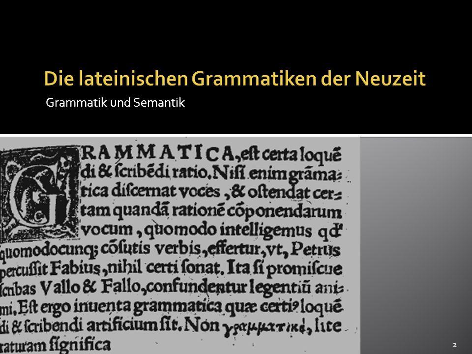 Die lateinischen Grammatiken der Neuzeit