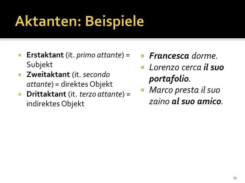 Aktanten: Beispiele Francesca dorme. Lorenzo cerca il suo portafolio.