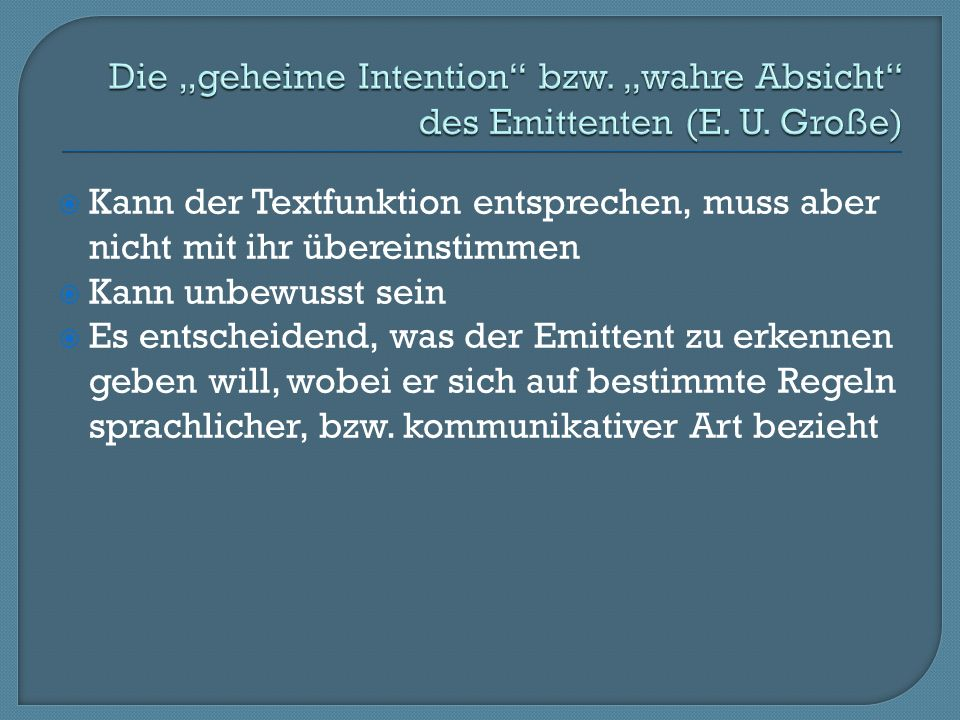 """Die """"geheime Intention bzw. """"wahre Absicht des Emittenten (E. U"""