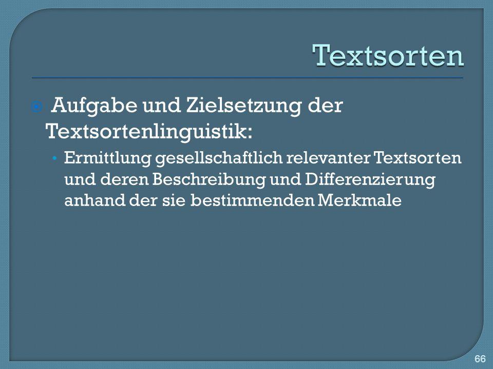 Textsorten Aufgabe und Zielsetzung der Textsortenlinguistik: