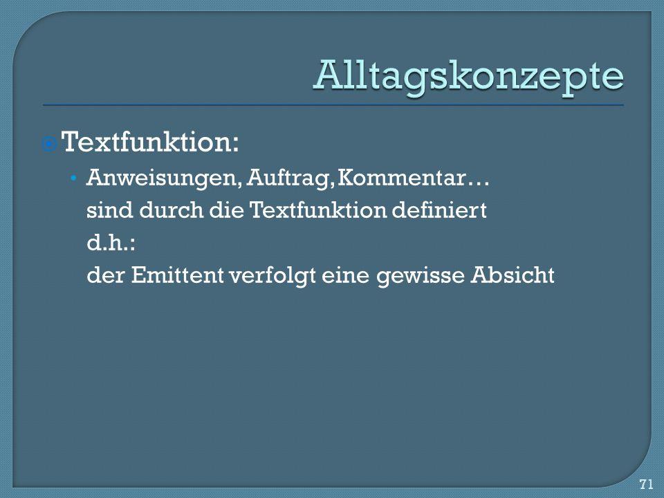 Alltagskonzepte Textfunktion: Anweisungen, Auftrag, Kommentar…
