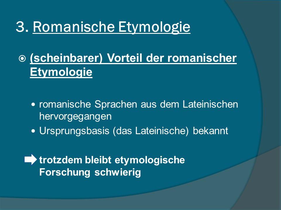 3. Romanische Etymologie
