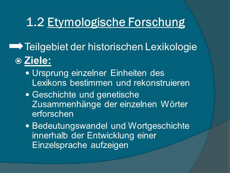 1.2 Etymologische Forschung