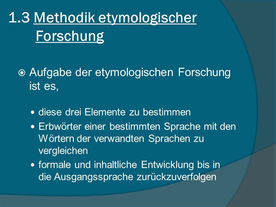 1.3 Methodik etymologischer Forschung
