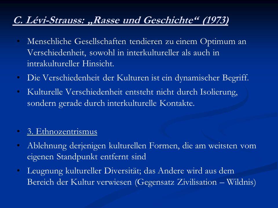 """C. Lévi-Strauss: """"Rasse und Geschichte (1973)"""