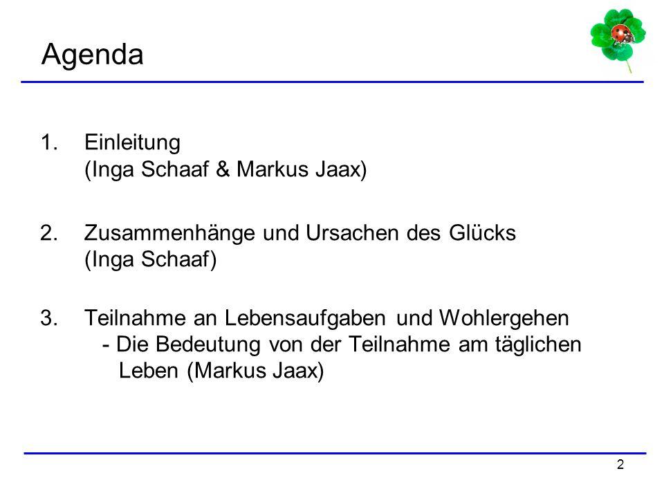 Agenda Einleitung (Inga Schaaf & Markus Jaax)