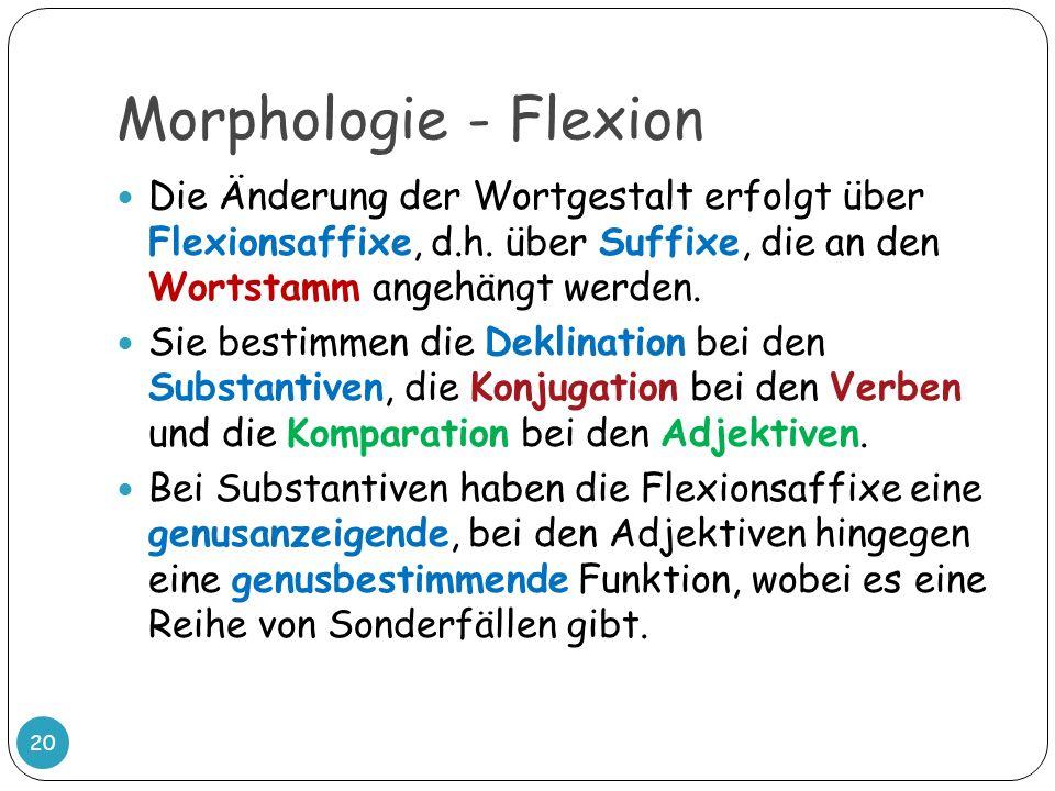 Morphologie - Flexion Die Änderung der Wortgestalt erfolgt über Flexionsaffixe, d.h. über Suffixe, die an den Wortstamm angehängt werden.