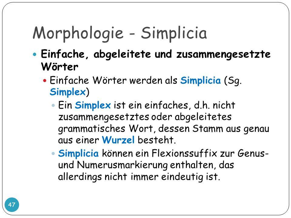 Morphologie - Simplicia