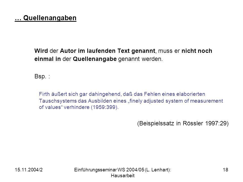 Einführungsseminar WS 2004/05 (L. Lenhart): Hausarbeit