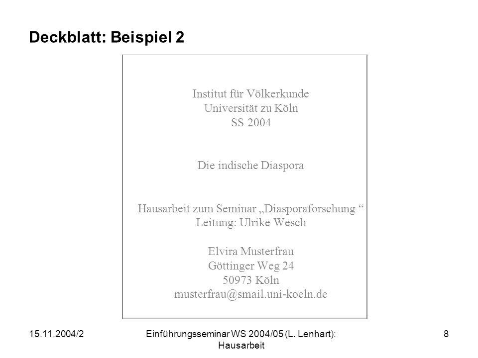 Deckblatt: Beispiel 2 Institut für Völkerkunde Universität zu Köln