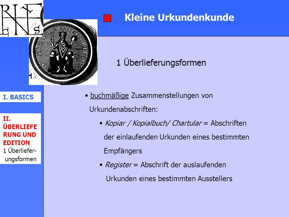 Kleine Urkundenkunde 1 Überlieferungsformen
