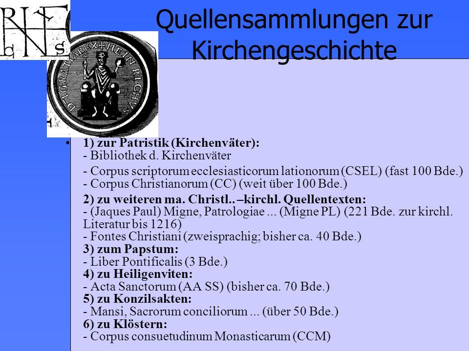 Quellensammlungen zur Kirchengeschichte