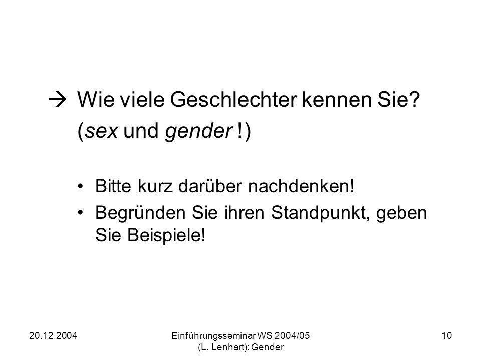 Einführungsseminar WS 2004/05 (L. Lenhart): Gender
