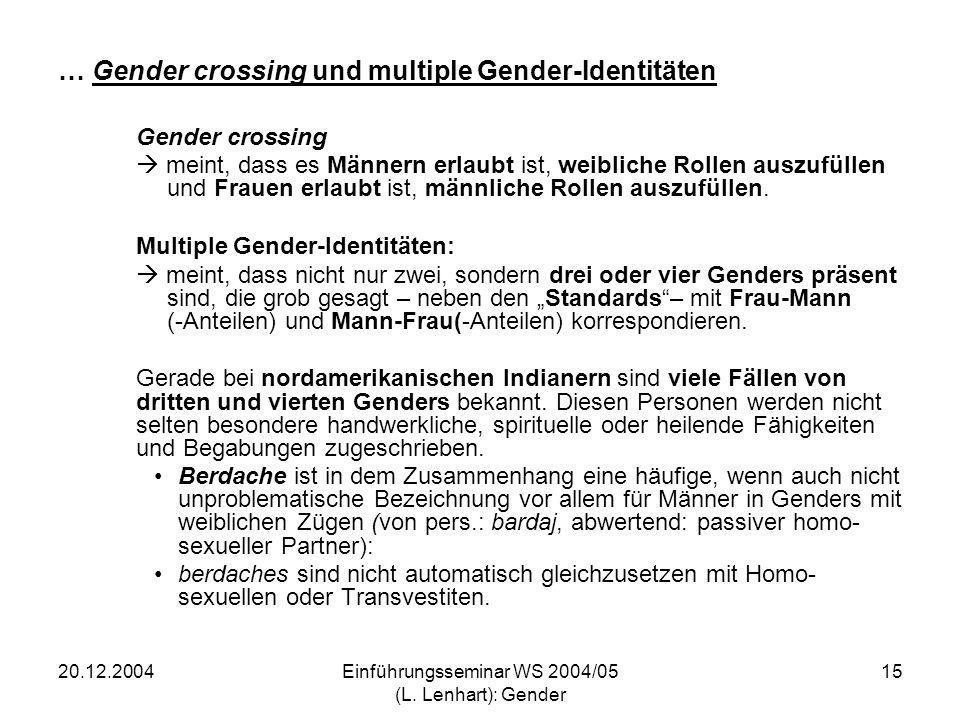 … Gender crossing und multiple Gender-Identitäten