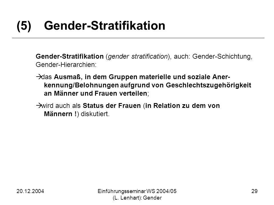 (5) Gender-Stratifikation