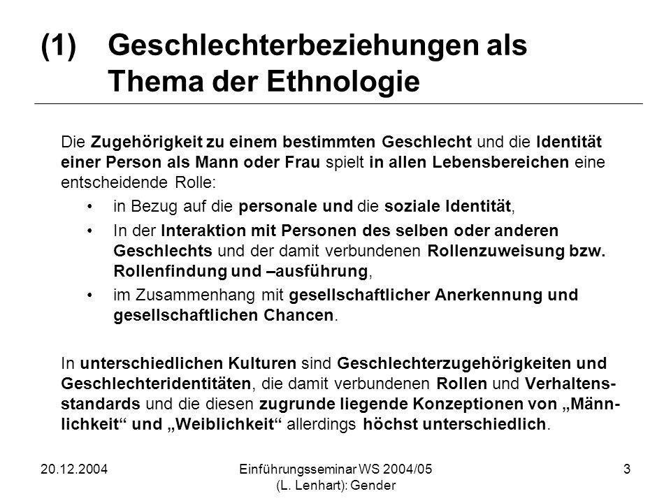 (1) Geschlechterbeziehungen als Thema der Ethnologie