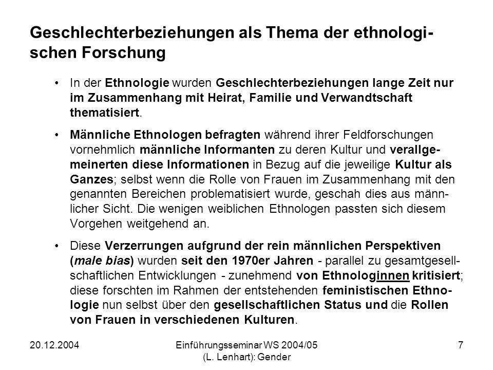 Geschlechterbeziehungen als Thema der ethnologi-schen Forschung
