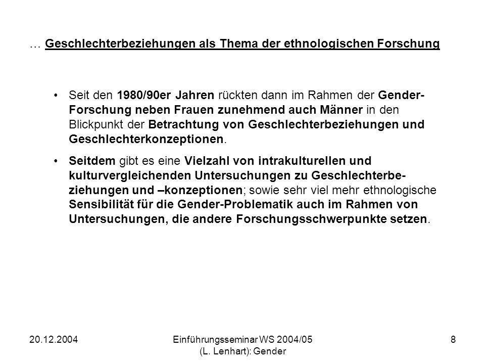 … Geschlechterbeziehungen als Thema der ethnologischen Forschung