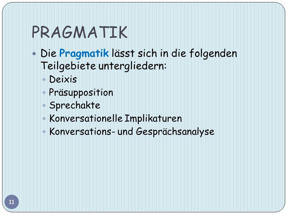 PRAGMATIK Die Pragmatik lässt sich in die folgenden Teilgebiete untergliedern: Deixis. Präsupposition.