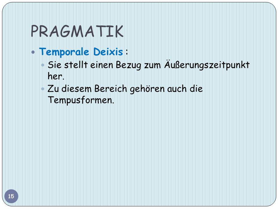 PRAGMATIK Temporale Deixis :