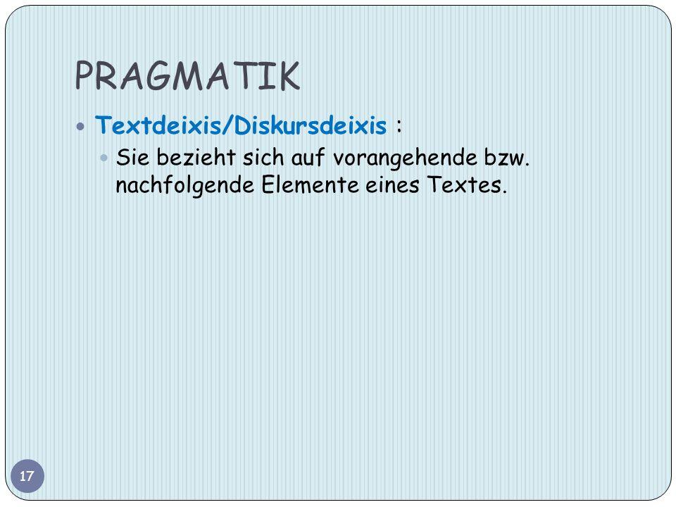 PRAGMATIK Textdeixis/Diskursdeixis :