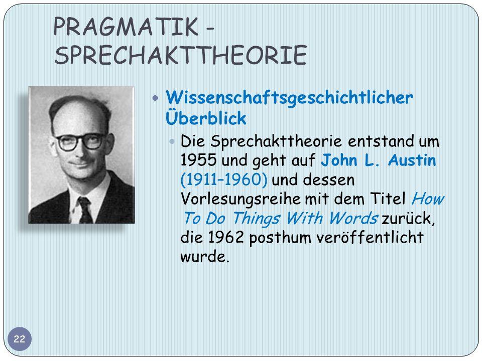 PRAGMATIK - SPRECHAKTTHEORIE