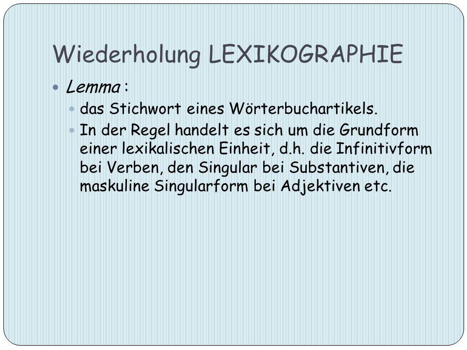 Wiederholung LEXIKOGRAPHIE