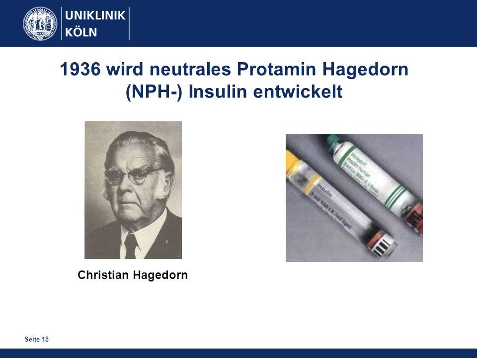 1936 wird neutrales Protamin Hagedorn (NPH-) Insulin entwickelt