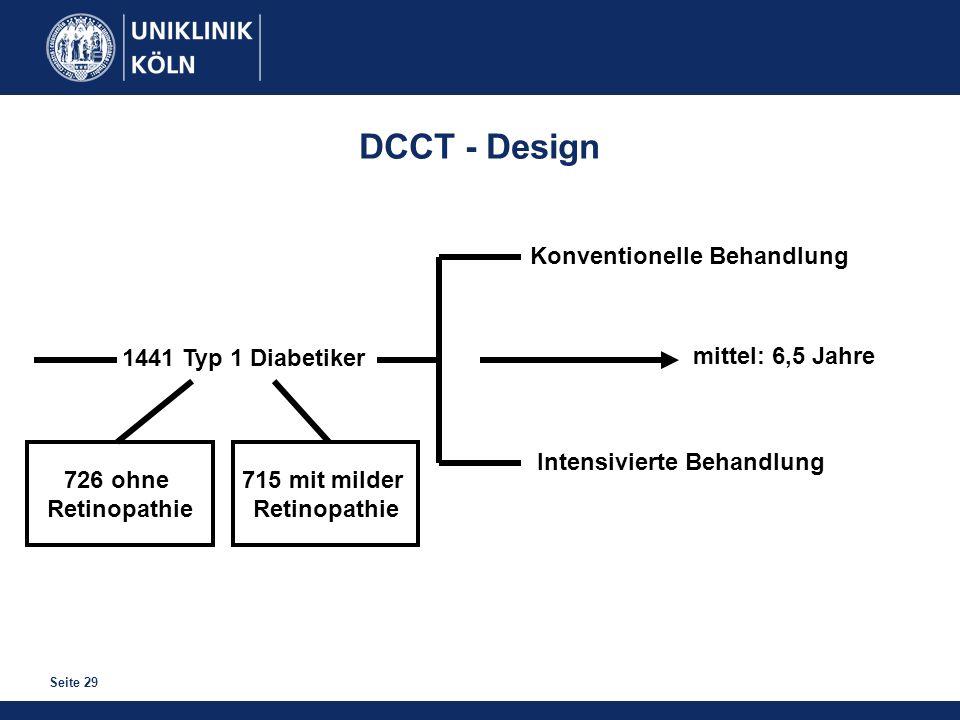 DCCT - Design Konventionelle Behandlung 1441 Typ 1 Diabetiker