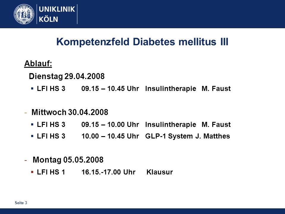 Kompetenzfeld Diabetes mellitus III